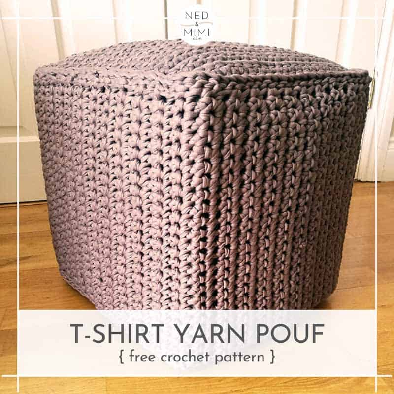 crochet cube pouf made from t-shirt yarn