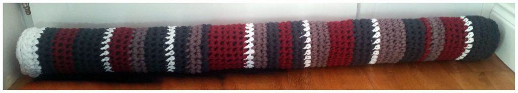 T-Shirt Yarn crochet draft excluder - finished