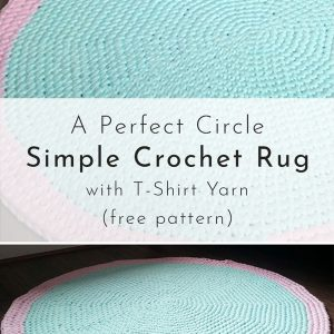 Circle rug crocheted using T-Shirt yarn