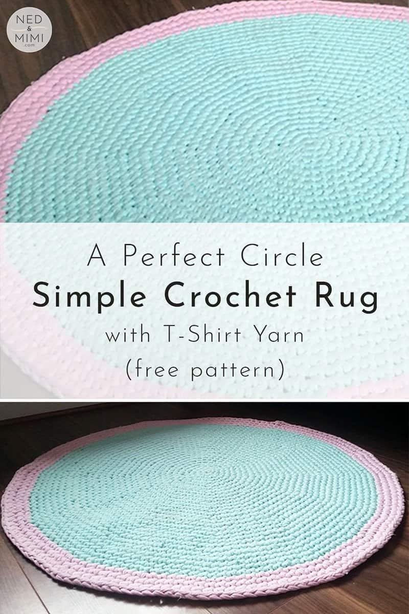 Circle rug crocheted using T-Shirt yarn
