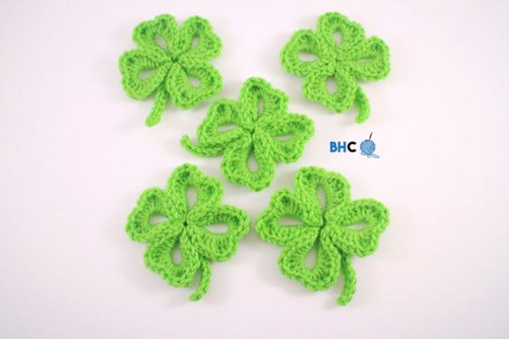 BHooked Crochet four leaf clover