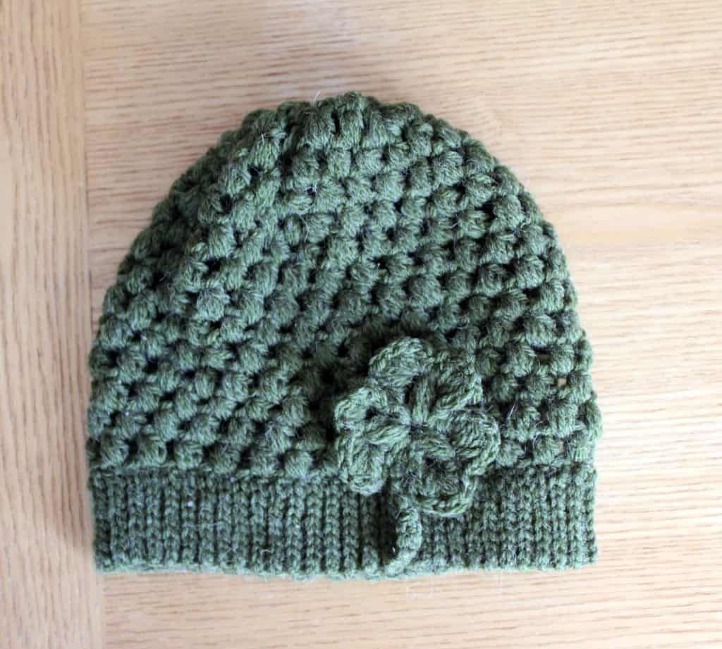 St Patricks Day puff stitch hat with shamrock