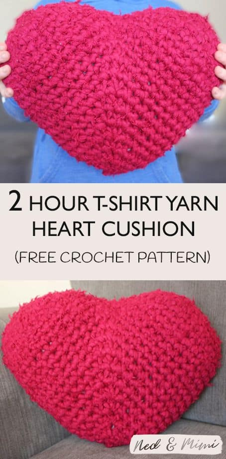 crochet fuzzy heart cushion pinterest