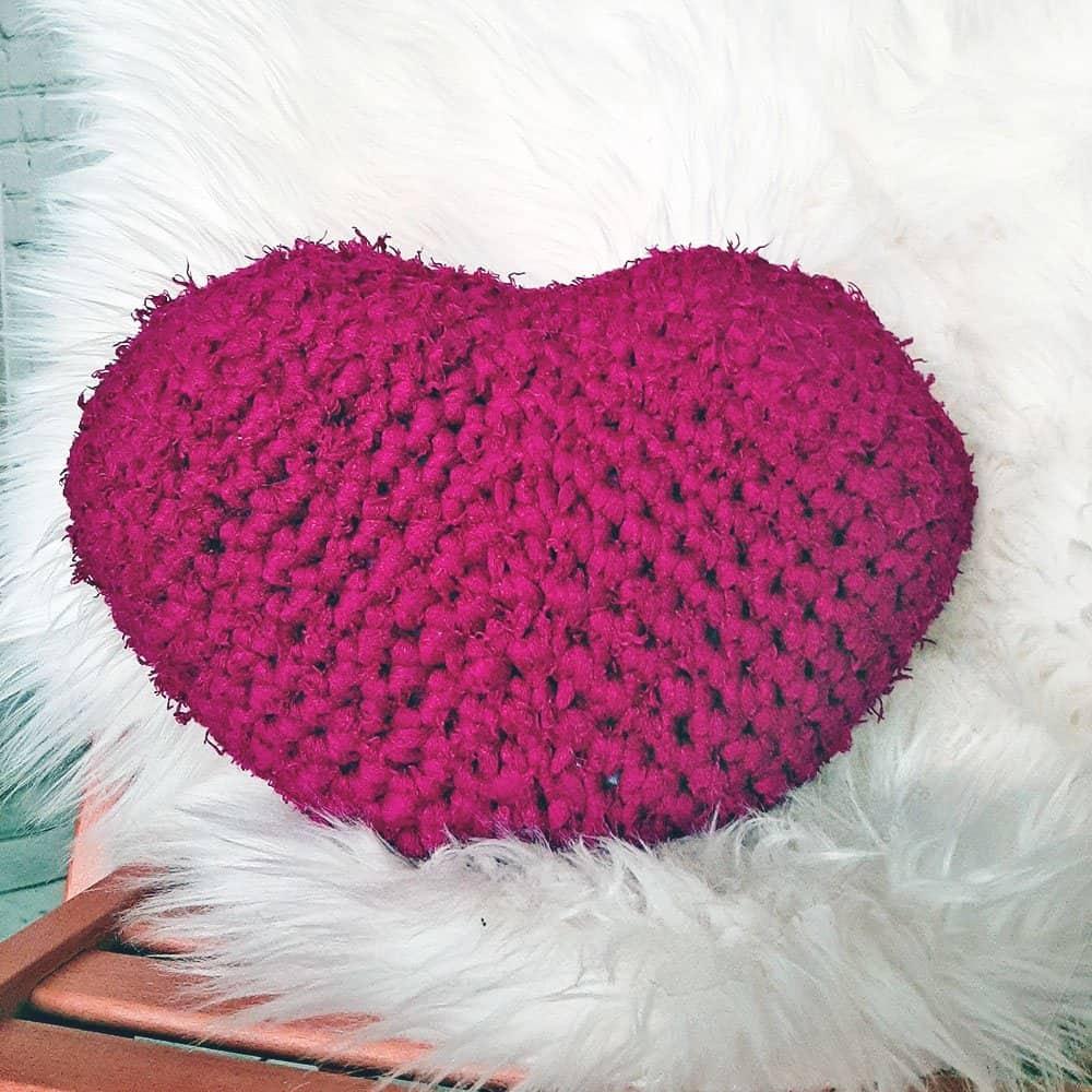 Crochet Heart Pillow on share