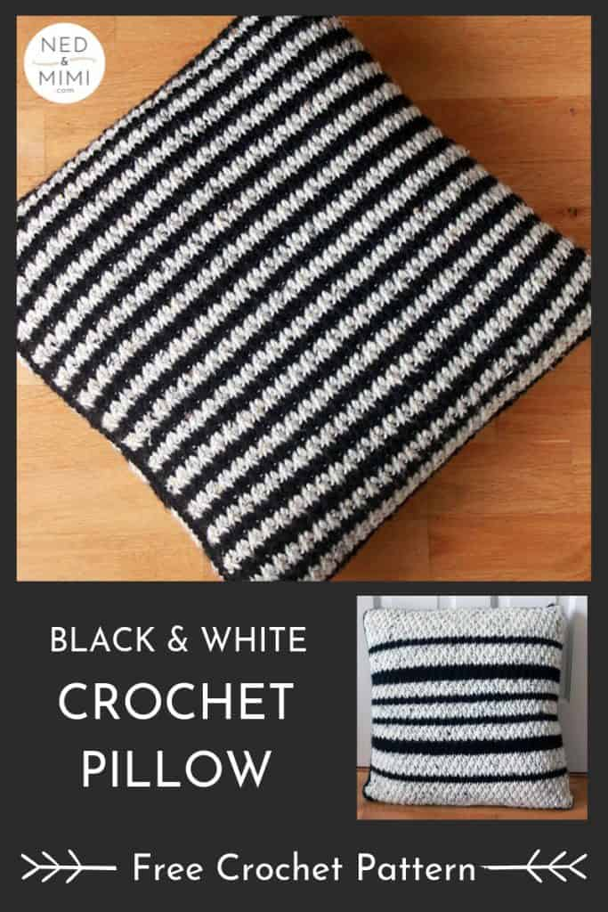 Black and white crochet pillow