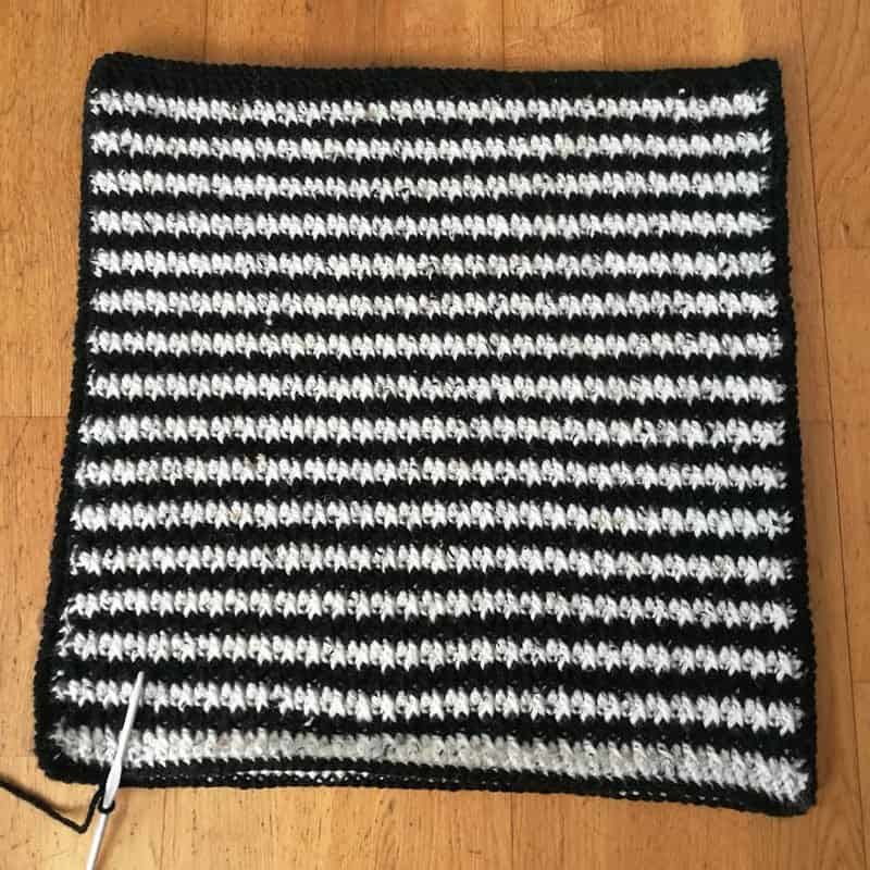 Black & white crochet cushion alternate stripes unfinished
