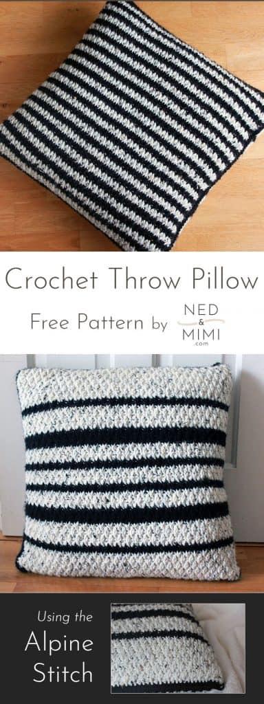 black and white crochet throw pillow