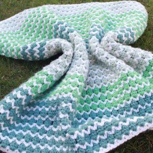 Unisex Green Crochet Baby Blanket