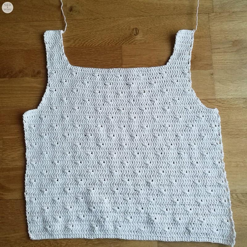 cotton top front before seaming
