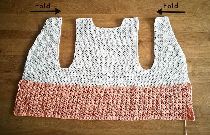 crochet vest before seaming