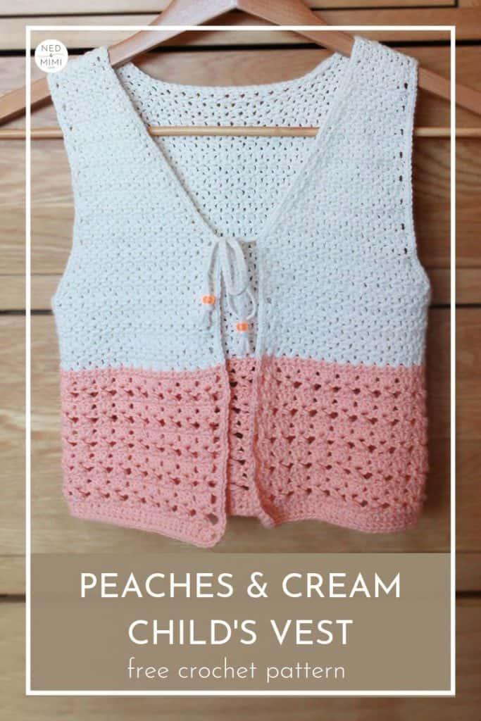 Peaches and Cream Girls Crochet Vest | Ned & Mimi