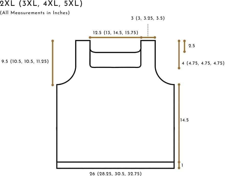 crochet tank schematic (size 2xl to 5xl)
