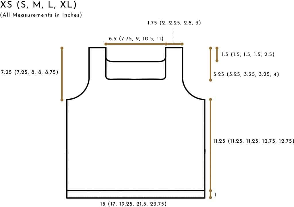 crochet tank schematic (size xs to xl)