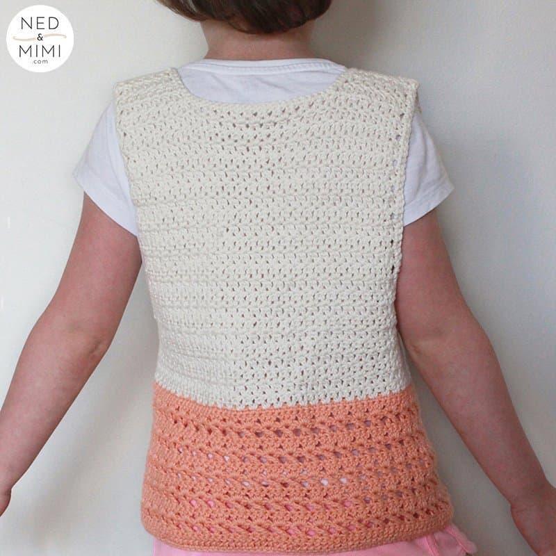 Crochet vest back view | Ned & Mimi