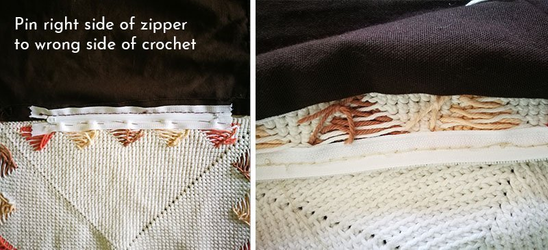 Sewing zipper to crochet panel