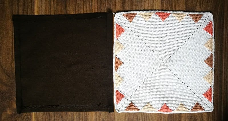 Crochet and fabric panels side by side