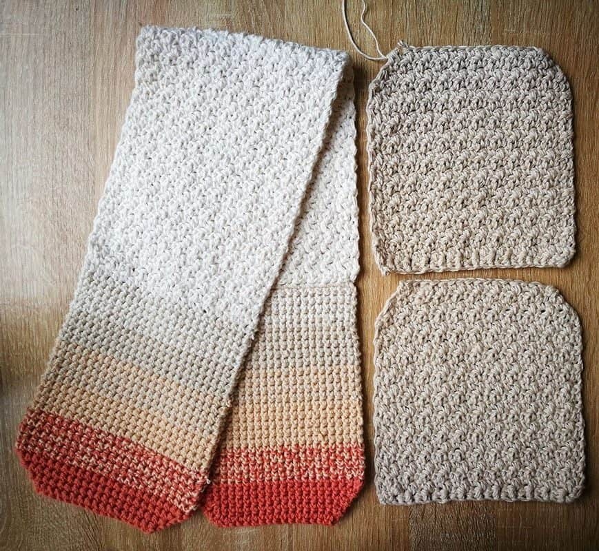 Crochet oven mitt panels before assembly