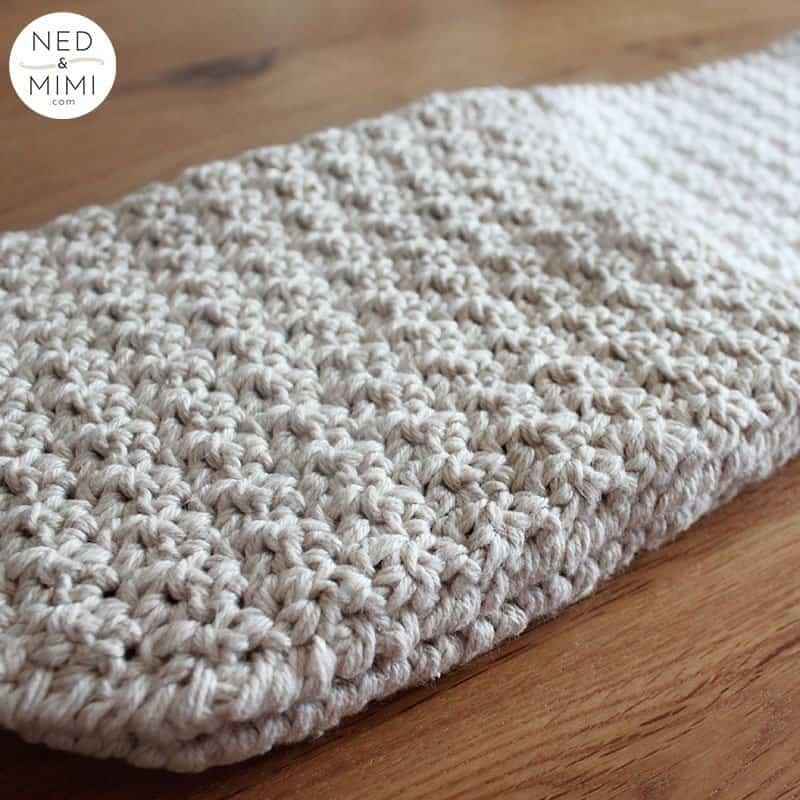 Crochet oven mitt top panel with logo