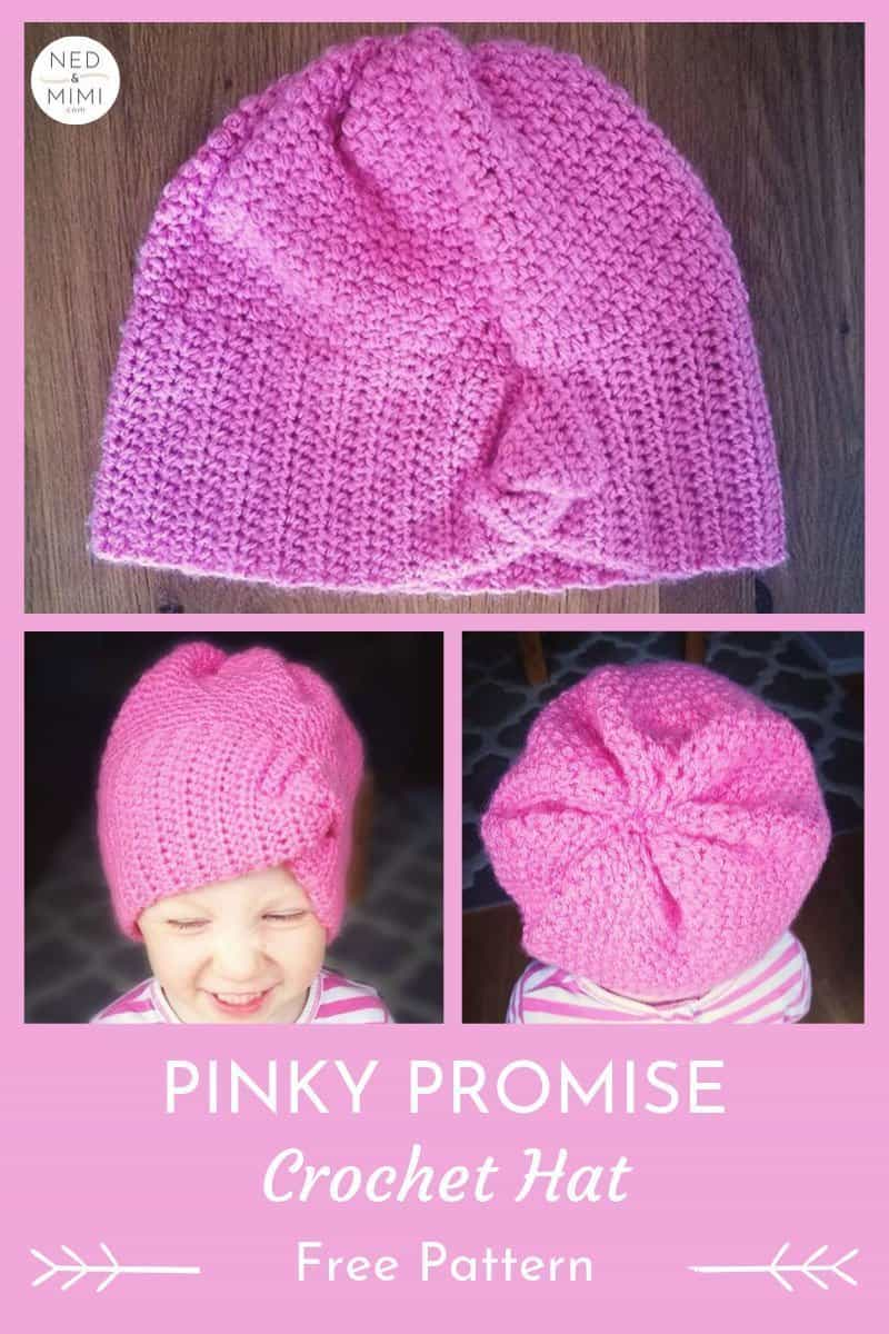 Pinky Promise Crochet Hat front view