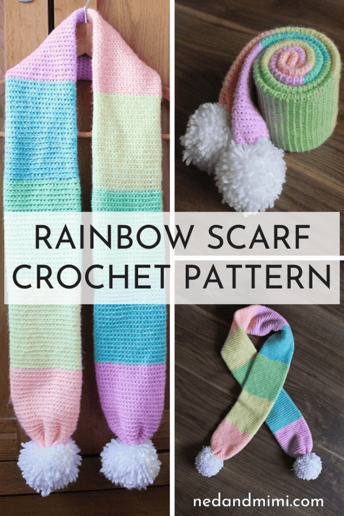 Crochet rainbow scarf collage