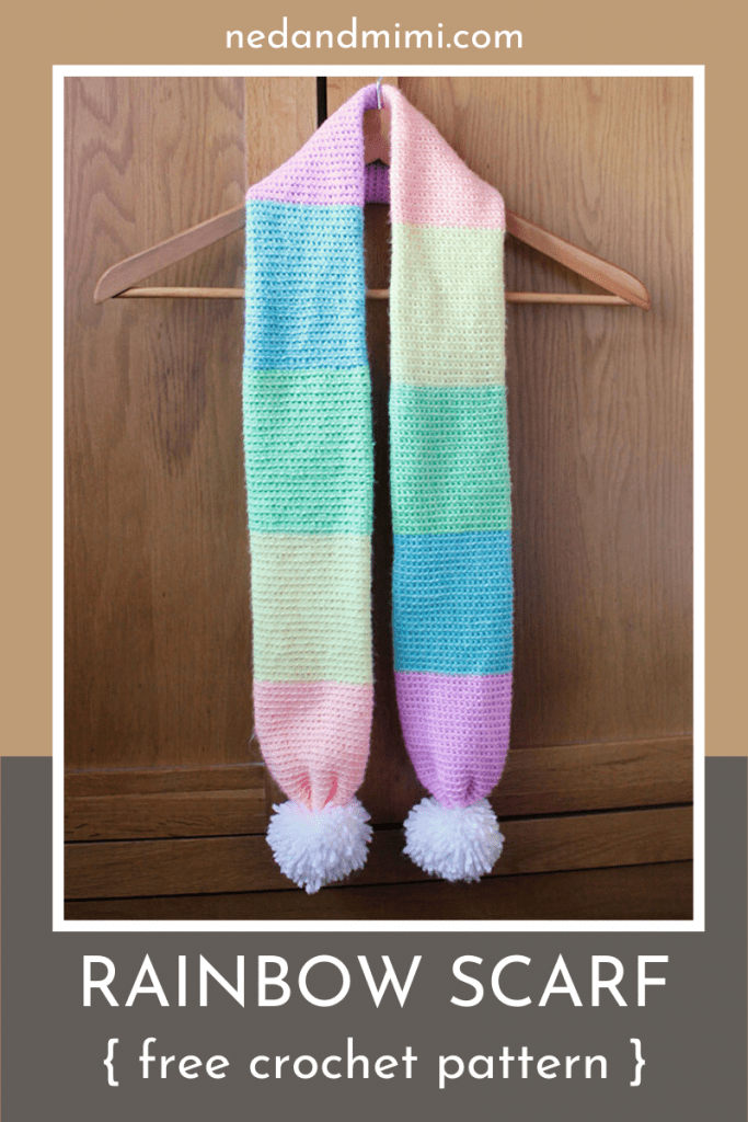 Crochet rainbow  scarf on hanger