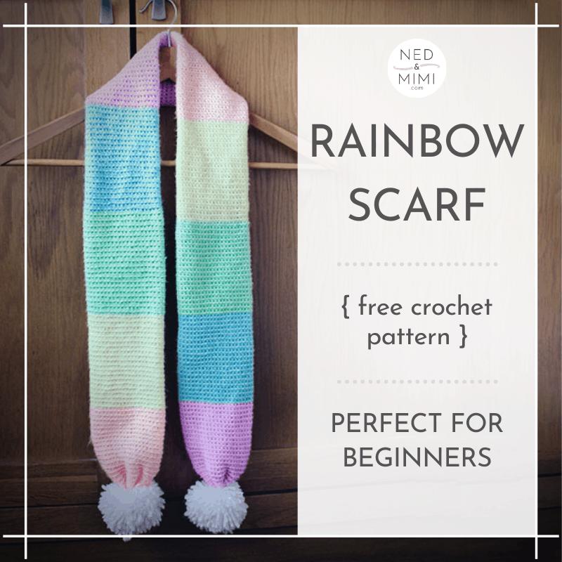 Crochet rainbow scarf on hanger