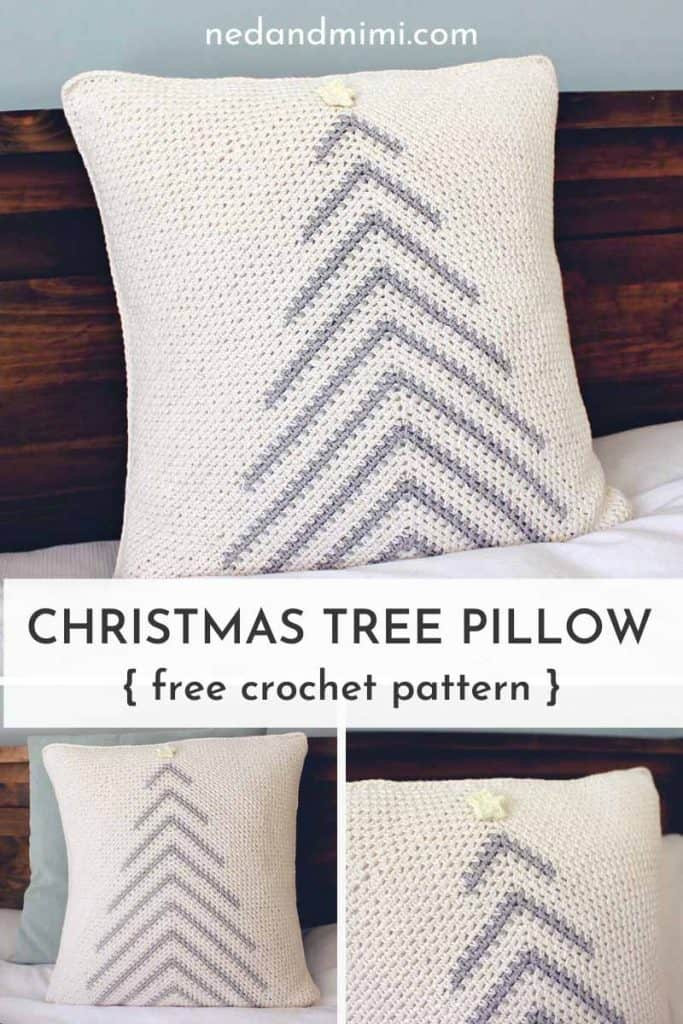 crochet christmas tree pillow collage