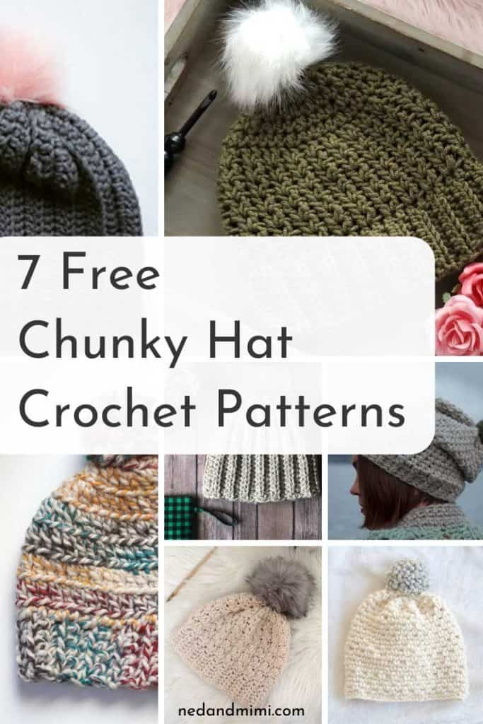 Chunky Hat Crochet Pattern collage