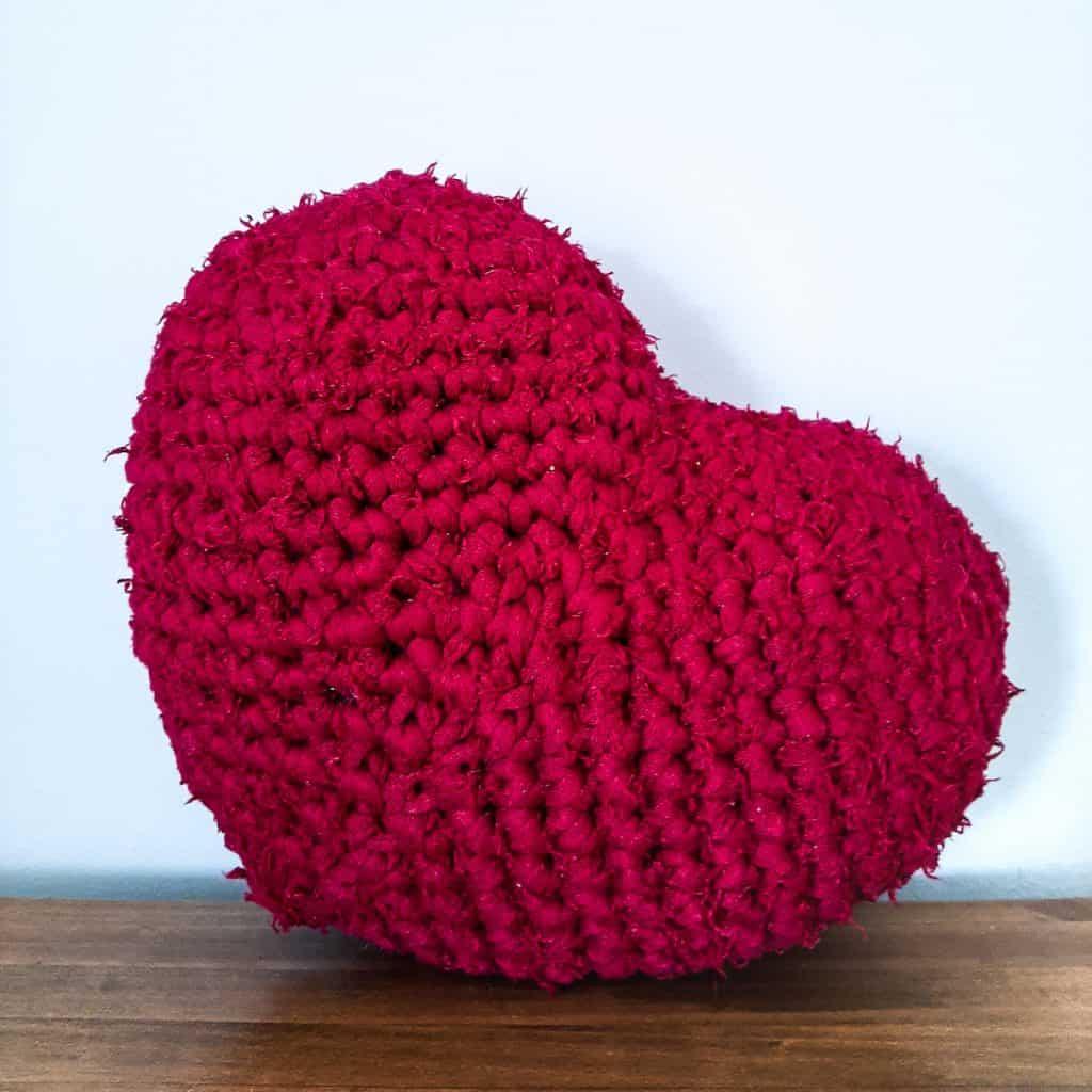 Easy Crochet Heart Pillow - Free Pattern