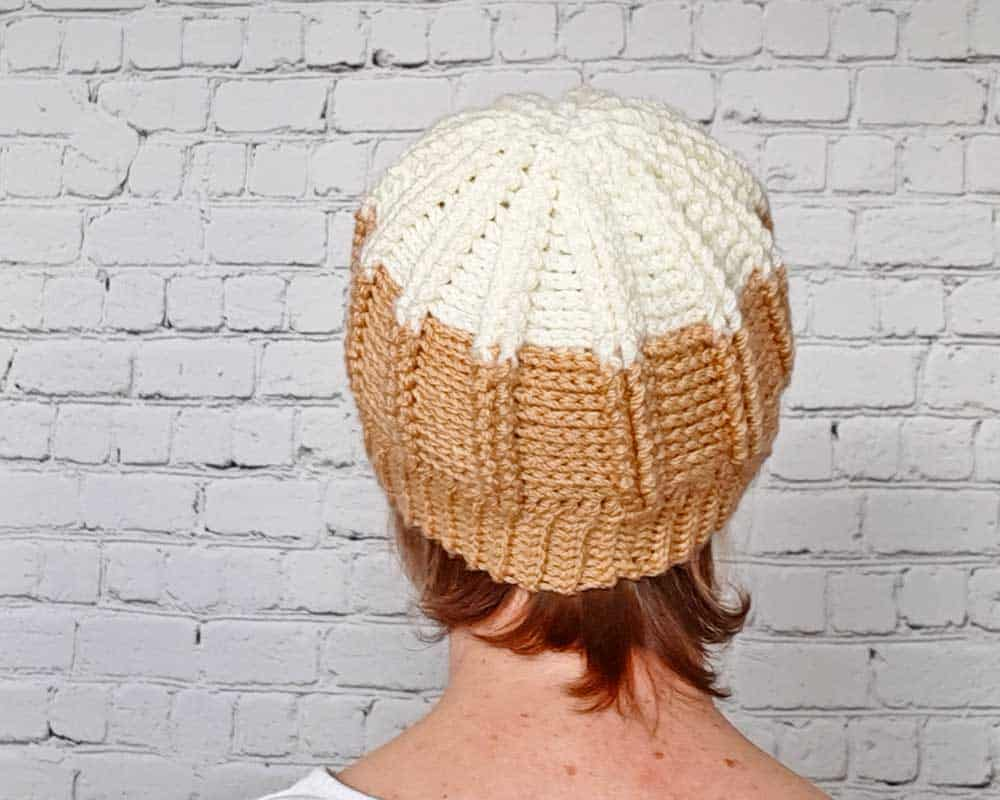 back of crochet hat worn