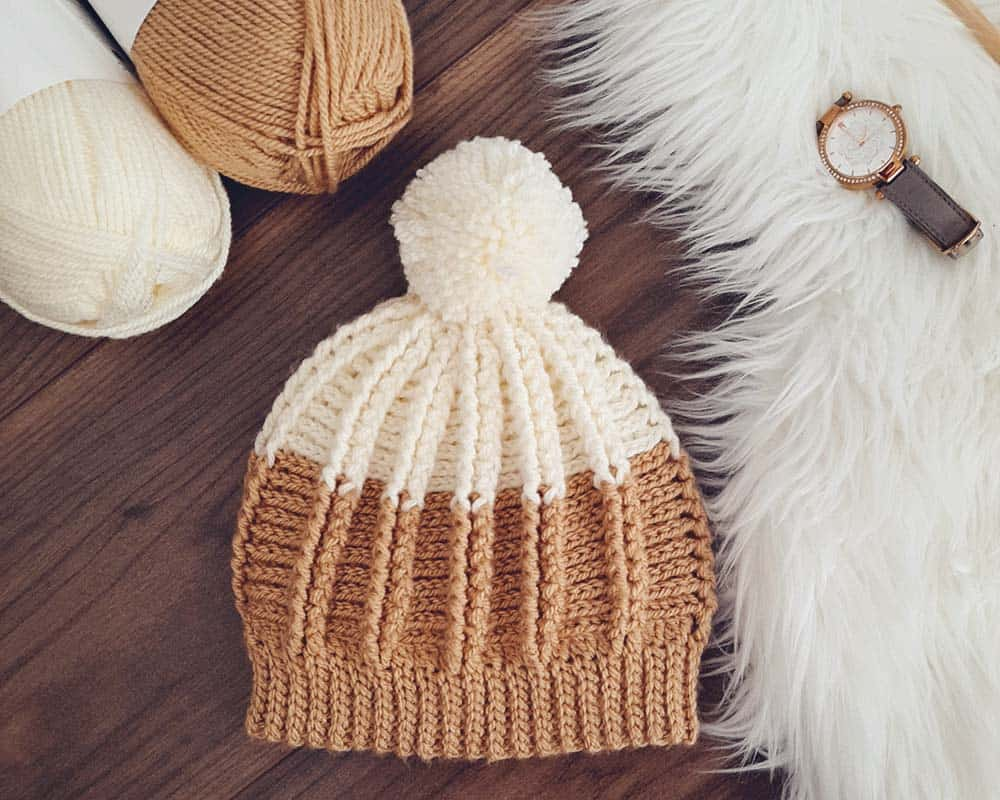 Winter Rays Crochet Hat flatlay