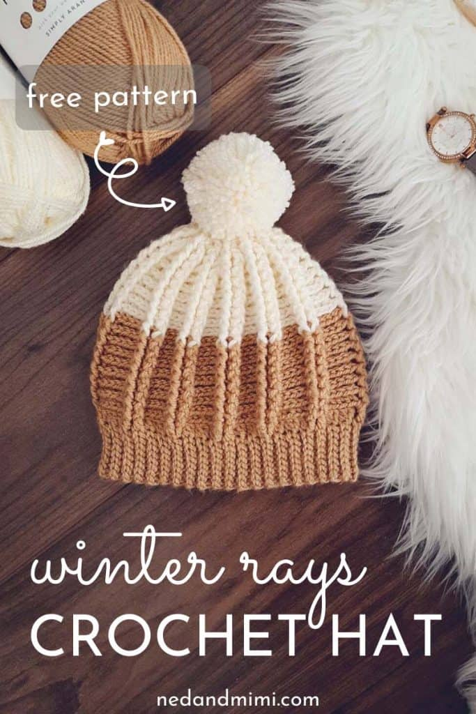Winter Rays Crochet Hat with caption