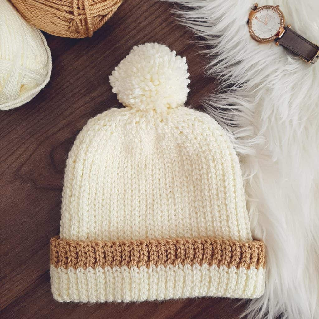 Knit Look Crochet Hat flatlay