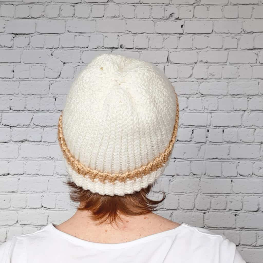 Knit Look Crochet Hat back view