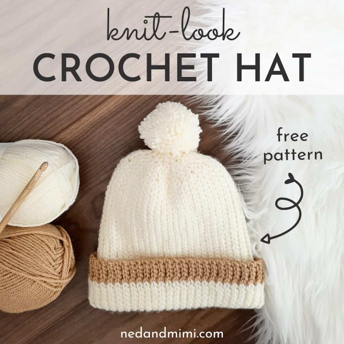 Knit Look Crochet Hat with caption