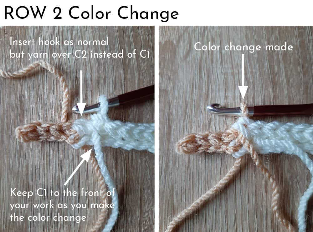Knit Look Crochet Hat - row 1 color change
