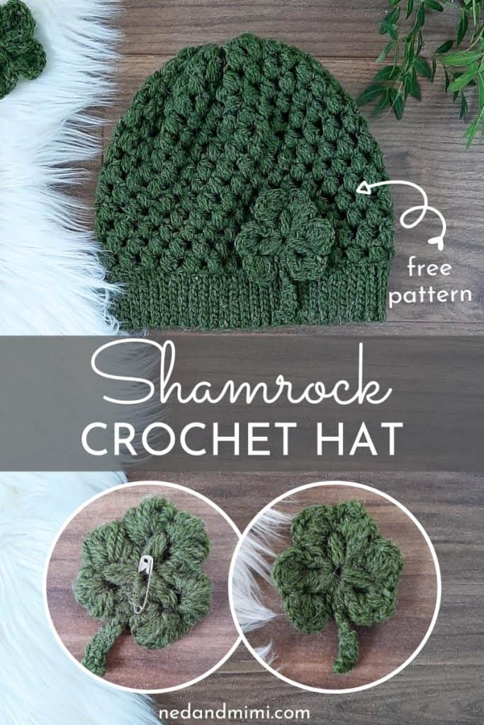 Puff Stitch Hat + Crochet Shamrock