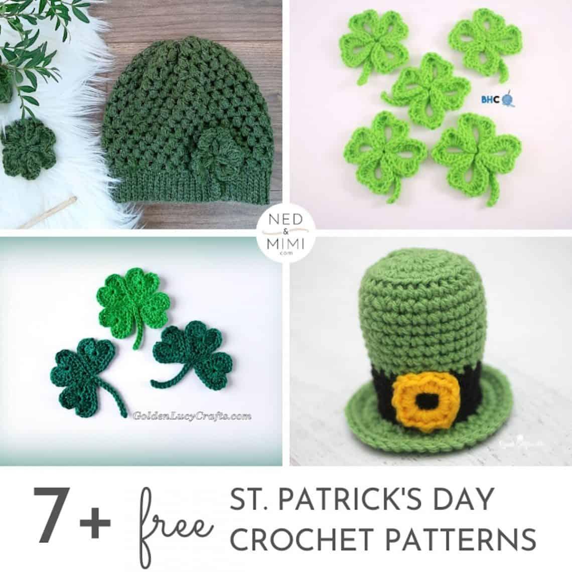 St. Patrick's Day Crochet Pattern collage + caption