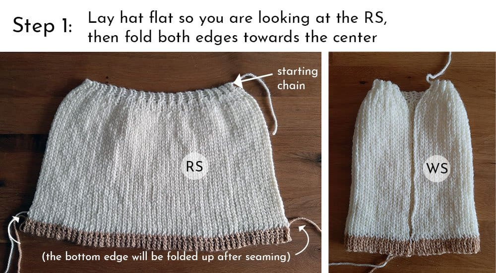 Knit Look Crochet Hat - Finishing Step 1