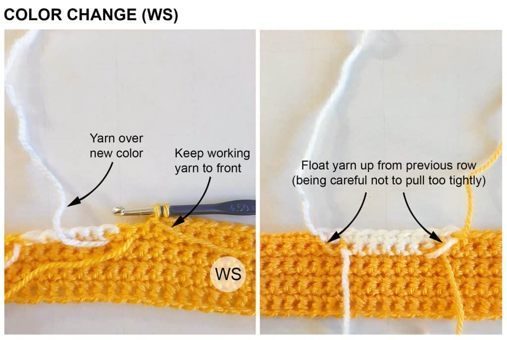 Intarsia crochet color change (WS)