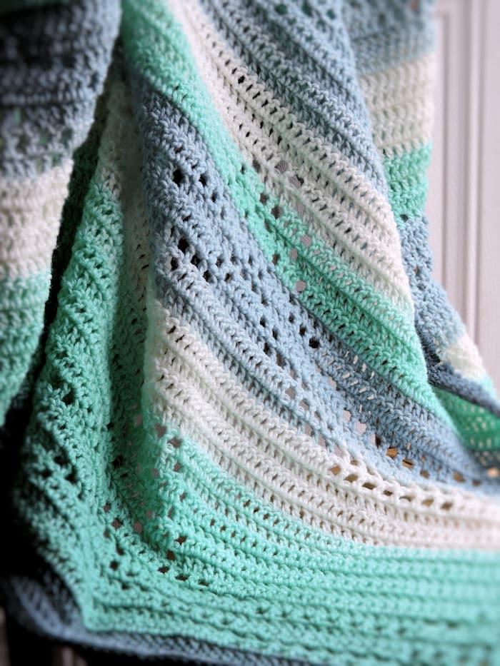 Easy Filet Ribbons Baby Blanket by Kim @ Crochet Kim