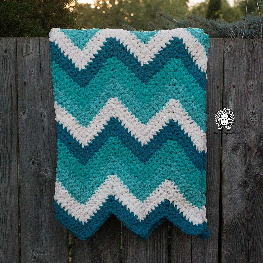 Timeless Teal Chevron Blanket by Ashley @ The Loopy Lamb