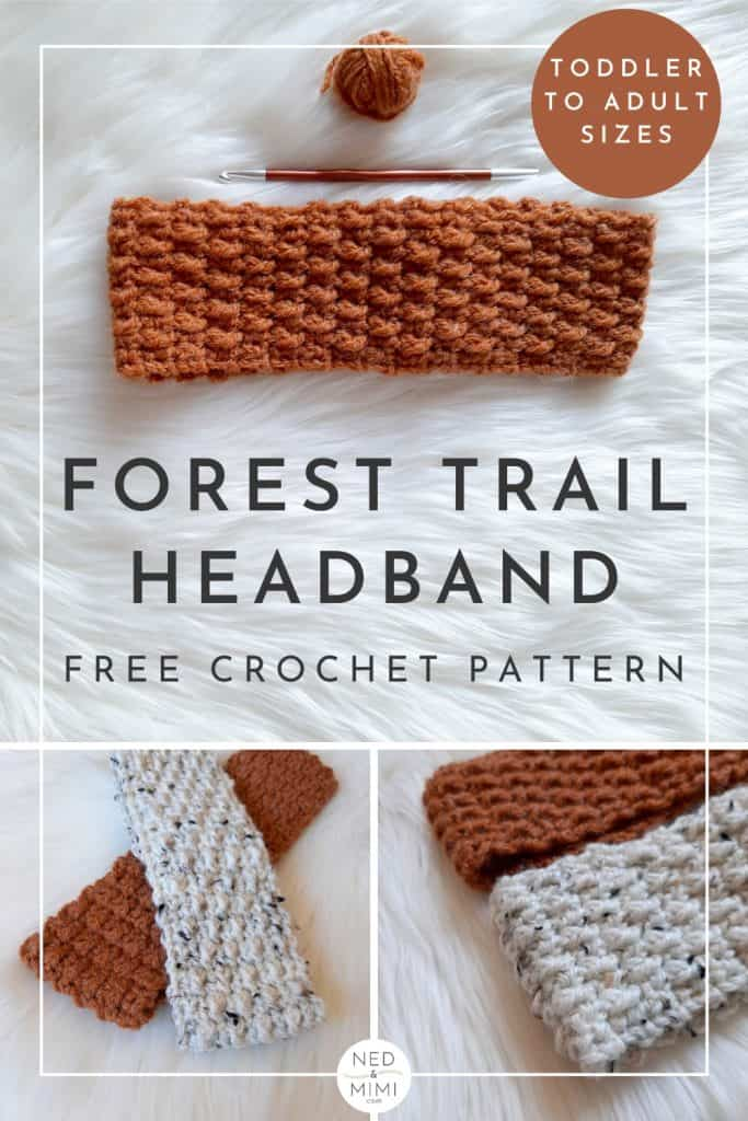Forest Trails Crochet Headband collage