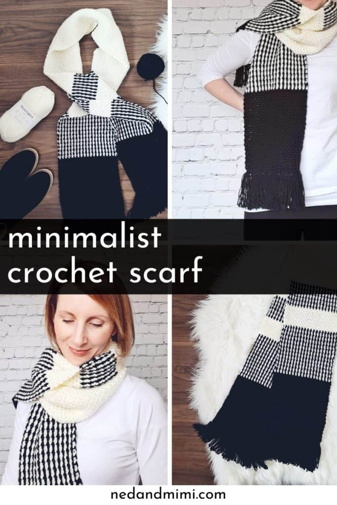 Crochet Scarf, black and white, collage