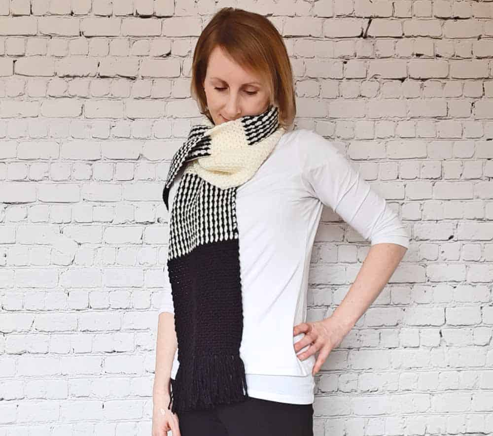 Crochet Scarf, black and white, worn wrapped