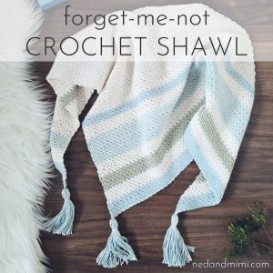Forget Me Not Crochet Shawl worn front
