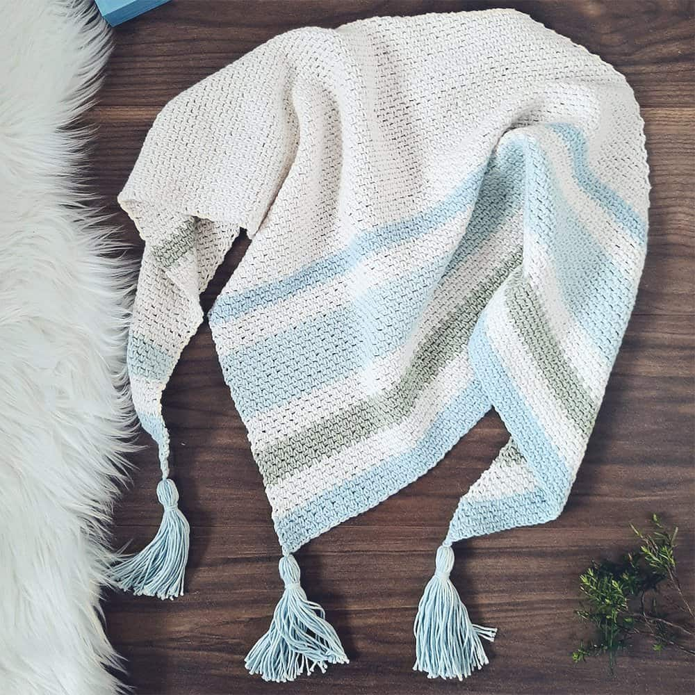 Forget Me Not Crochet Shawl flatlay
