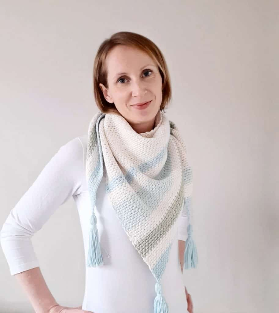 Forget Me Not Crochet Shawl side view