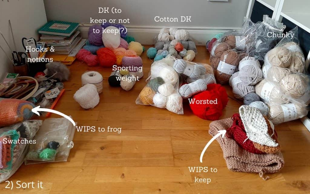 yarn laid out on floor