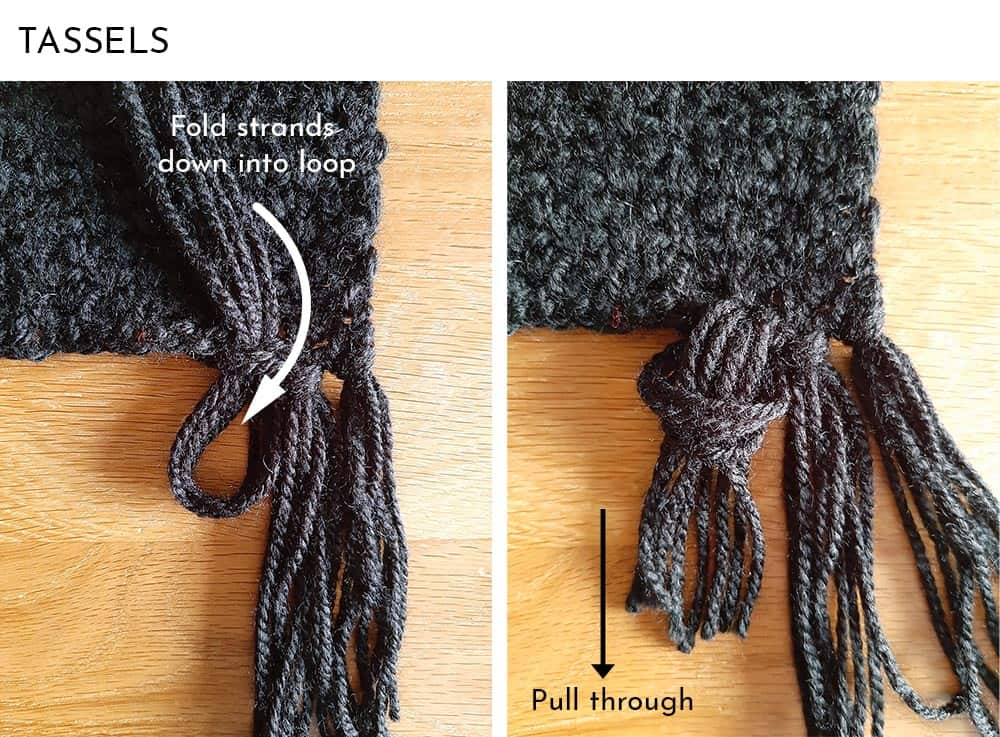 Adding tassels to crochet scarf